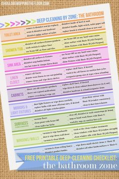Deep-Cleaning the Bathroom | Includes free printable deep cleaning bathroom checklist.