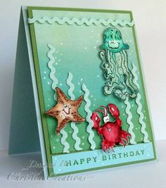 For the Ways to use it - using Ric Rac today.   Here's a quick birthday card for my son's buddy's birthday today!    Ric Rac is my seaweed!  Fishy friends are watercolored and background is brayered.  Bubbles are white gel pen.   Thanks for looking!