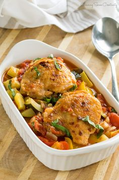Chicken Ratatouille Recipe - one pot dish that makes delicious leftovers. The stewed chicken cooks in the vegetables and the flavors meld together perfectly.