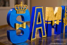 Royal Blue and Gold Letters Photo Prop by CraftsByBiessel on Etsy