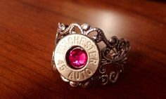 Silver Winchester 45 caliber bullet adjustable ring by Myparttime