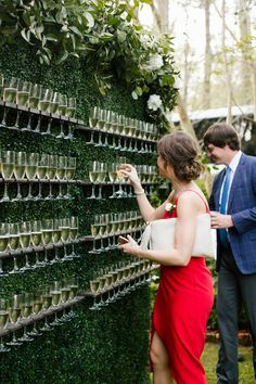 Champagne wall Living wall Boxwood wall Signature drink display Interactive cocktail hour Garden wedding inspiration North House Home and Garden New Orleans wedding NOLA. Perfect Wedding, Dream Wedding, Wedding Day, Spring Wedding, Wedding Lounge, Wedding Reception Drinks, Wedding Favors, Cold Wedding, Wedding Reception Entrance