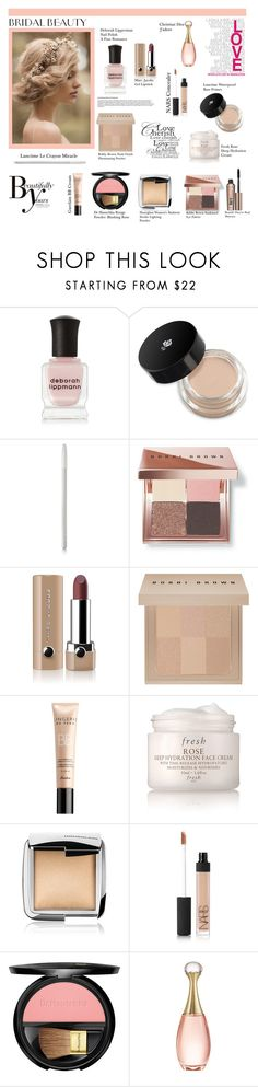 """""""Bridal Beauty"""" by southindianmakeup1990 ❤ liked on Polyvore featuring beauty, Deborah Lippmann, Lancôme, Bobbi Brown Cosmetics, Sonam Life, Marc Jacobs, Guerlain, Fresh, Hourglass Cosmetics and NARS Cosmetics"""