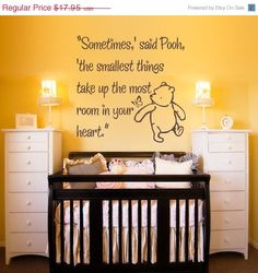 ON SALE Vinyl Wall Decal Sticker Art - Smallest Things - Small - Winnie the Pooh wall mural. $15.26, via Etsy.
