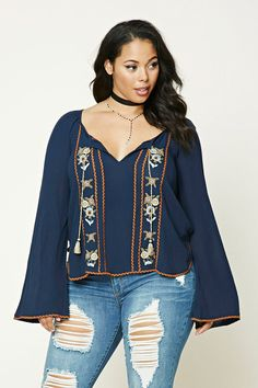 Forever 21+ - A crinkled woven top featuring front floral and stripe embroidery, a round neckline with a tasseled self-tie and a keyhole cutout, long raglan bell sleeves with embroidered cuffs, and a curved embroidered hem.