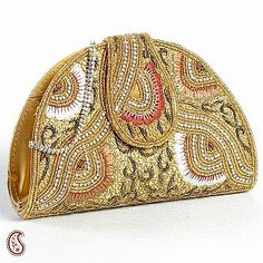 Dome shaped Golden Embroidery Flap clutch