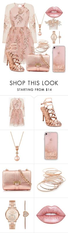"""Rose Gold Outfit"" by aatway ❤ liked on Polyvore featuring Chi Chi, Madden Girl, LE VIAN, Rebecca Minkoff, Aspinal of London, Red Camel, Michael Kors, Lime Crime and Nina"