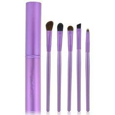 Purple 5 pc Professional Eyeshadow Brush Makeup Kit Cosmetic Contouring Eye with Case