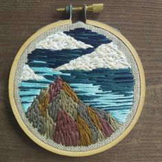 Colored Mountains 3 inch embroidery HOOP ART