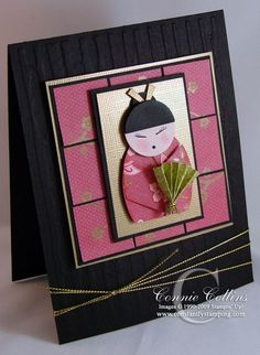 hand crafted greeting card ... kokeshi doll punch art on a 3X3 inchie grid ... luv the black background and  elements of gold to show off the doll ...