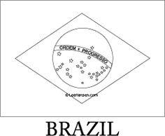 Brazil flag line art coloring page