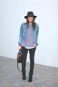 stripe top & jean jacket