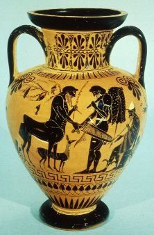 London B 226, Attic black figure neck amphora, c. 530-510 B.C.Hercules and the centaur Pholos shaking hands. Hercules visited his friend Pholus, who lived in a cave near Mount Erymanthus. He was hungry and thirsty, so the kindly centaur cooked him some meat in the fireplace, but when Hercules asked for wine, Pholus said that he was afraid to open the wine jar, because it belonged to all the centaurs in common. Hercules opened it himself.
