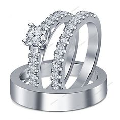 2.53 CT VVS1 Diamond 14K White Gold FN Fishtail Setting Trio Engagement Ring Set #aonejewels