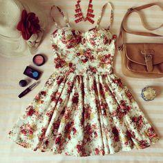 Dress: clothes, bag, make up, floral, belt, hat, rise, flowers ...