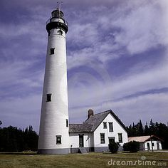 Presque Isle Lighthouse is located in Michigan along Lake Huron