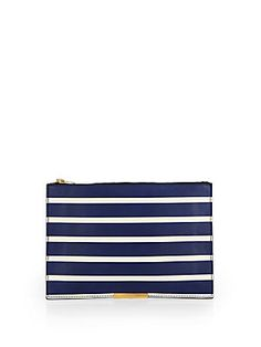 Sophie Hulme Large Striped Zip Pouch
