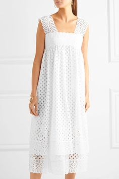 Tory Burch - Broderie Anglaise Cotton Dress - White - US14
