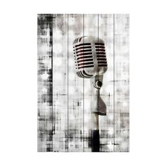 Marmont Hill Mic on White Wood Print on White Wood 45 x 30 Home Decor ($298) ❤ liked on Polyvore featuring home, home decor, wall art, wall decor, wood art, white home decor, music home decor, white wood wall art, music wall art and wooden wall art