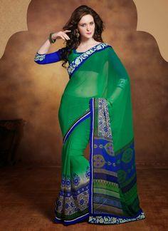 Green Georgette Casual Wear Saree Shop Now : http://www.cfashionbazaar.com/