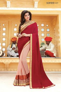 MAROON AND PINK GEORGETTE SAREE WITH EMBROIDERY WORK