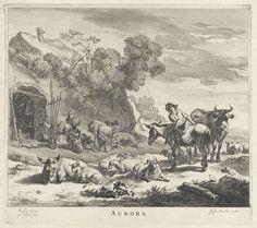 Jan de Visscher | Ochtend, Jan de Visscher, Justus Danckerts, 1645 - 1701 | Gezicht op een heuvellandschap met herders en hun vee, en links een woning. Voor het huis speelt een jongen met een tol en krabt een man de hoeven van een ezel. Op de voorgrond zadelt een herder zijn ezel.