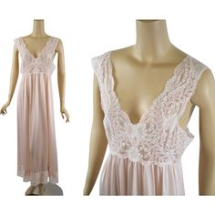 Vintage 1980s Nightgown Pale Pink Nylon and Lace Night Gown by Shadowline Sz L