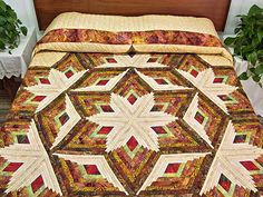 amish log cabin quilt | Diamond Star Log Cabin Quilt -- gorgeous smartly made Amish Quilts ...