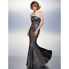 Formal Evening Dress Trumpet/Mermaid Strapless Floor-length Lace Dress – USD $ 119.99