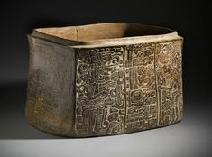 Slip-painted ceramic carved and incised box. Maya. 450-550 A.D. | Los Angeles County Museum of Arts Collections