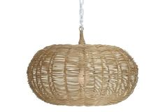 "14"" Calabash 1-Light Hanging Pendant - if counter stools are rattan, this would look good"