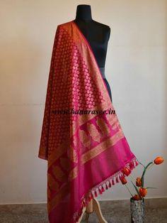 Banarasi/ Banarasee Handwoven Pure Chiffon Dupatta Leaf Buti Design In Antique Gold Zari-Hot Pink