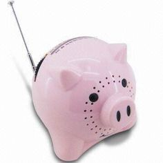 AM/FM Pig Radio with Speaker, Also Comes in Cow Shape, Used AA Batteries, for Children Learning