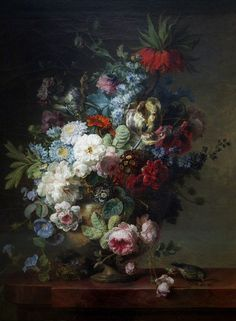 Cornelis van Spaendonck<br>Vase of Flowers on a Stone Table with a Nest and a Greenfinch, 1789