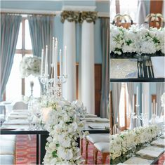 White cascading flowers with crystal decor, gold elements set on the black table