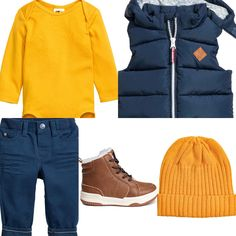 Baby boy outfit idea blue and yellow. Padded waistcoat, yellow body, blue chinos. H&M 2016