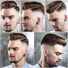 Medium, quick transition skin fade with classic pompadour, hard part, and handlebar mustache