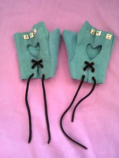 Teal Heart Stud Pastel Goth Fingerless Leather gloves by BlakBunni, $15.00