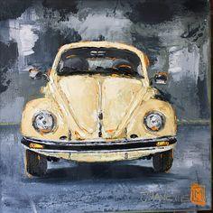 Cream beetle  Oil impasto on board  By Juanette Menderoi