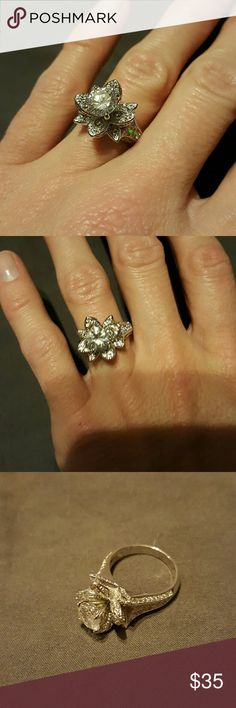 NWT white gold & cz flower ring sz 6 Very pretty! packaging this was shipped with shown in pic 4. Sizing wouldn't let me enter custom and the ring sizes wouldn't show up, but this is size 6 Jewelry Rings