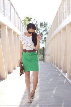 StylishPetite.com | Green, Dots and Stripes