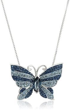 """Sterling Silver Blue Mix Butterfly with Swarovski Elements Pendant Necklace, 18"""" Amazon Collection-$74.46 http://www.amazon.com"""