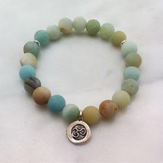 The Sita mala bracelets are made from 21 amazonite mala beads. OM guru bead. Buddhist prayer beads for meditations on the Divine feminine and expression.