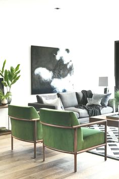 Finally Sharing Our Finished Living Room Makeover « Living Room Green, Living Room Chairs, Living Room Decor, Green Rooms, Grey Couch Decor, Grey Couches, Sala Vintage, Living Room Cabinets, Living Room Designs