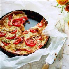 Camembert, goat's cheese and tomato tart Recipe   delicious. Magazine free recipes