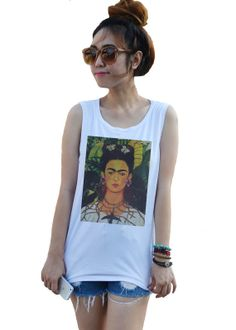 Frida Kahlo Art Pop Punk Indie Rock Vintage Artist  Tank top T-Shirt Tops White Sexy Summer Women Girl women's Shirt Size XS,S,M,L