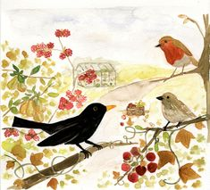 Garden birds watercolour painting by Wina You for Seasalt Cornwall.