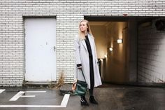 Outfit of the day: Cos light grey coat, Sacha Western Buckle boots, Delvaux bag