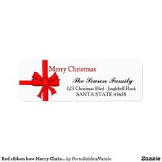 Red ribbon bow Merry Christmas  address label