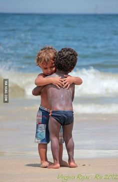 Kids don't really need a reason to hug it out; it is pure and natural, at the same time..... It was passed on to them by their role models...  Be a good role model
